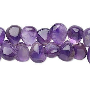 bead, amethyst (natural), light to medium, 10x7mm-13x10mm hand-cut top-drilled puffed teardrop, b grade, mohs hardness 7. sold per 7-inch strand.