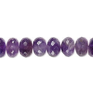 bead, amethyst (natural), medium to dark, 10x4mm-11x6mm hand-cut faceted rondelle, c+ grade, mohs hardness 7. sold per 8-inch strand.