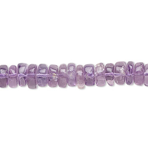 bead, amethyst (natural), medium to dark, 7x3mm-11x6mm hand-cut rondelle, b- grade, mohs hardness 7. sold per 16-inch strand.