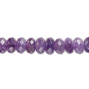 bead, amethyst (natural), medium to dark, 7x4mm-8x5mm faceted rondelle, b grade, mohs hardness 7. sold per 16-inch strand.
