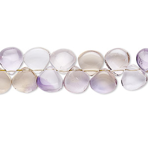 bead, ametrine (natural / heated), 8x7mm-9mm hand-cut top-drilled puffed teardrop, b- grade, mohs hardness 7. sold per 7-inch strand.