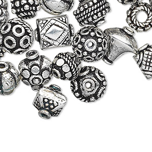 bead and bead cap, antique silver-plated copper, 8x5mm-15x10mm assorted shape. sold per pkg of 100.