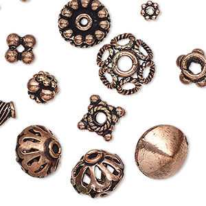 bead and bead cap mix, antiqued copper, 5x1mm-18x10mm mixed shape. sold per 50-gram pkg, approximately 60-70 pieces.