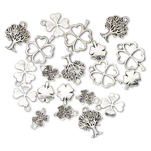 bead and charm, antique silver-plated pewter (zinc-based alloy), 12x10mm-22x17mm single- and double-sided assorted clover and tree. sold per pkg of 20.