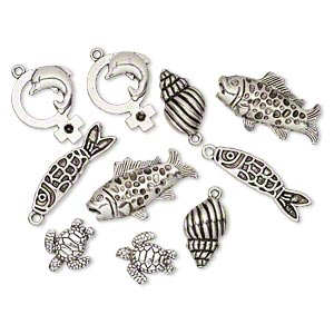 bead and charm, antique silver-plated pewter (zinc-based alloy), 18x16mm-34x20mm assorted sea creature. sold per pkg of 10.