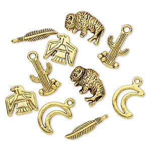 bead and charm, antiqued gold-finished pewter (zinc-based alloy), 12x12mm-19x4mm assorted southwest theme. sold per pkg of 10.