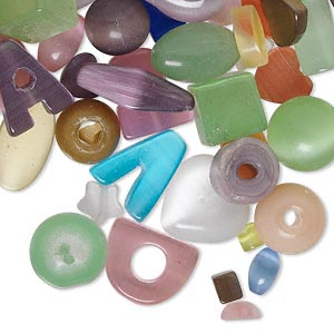 bead and component mix, cats eye glass, mixed colors, 4x3mm-14x4mm mixed shapes. sold per 1/4 pound pkg, approximately 85-150 beads.