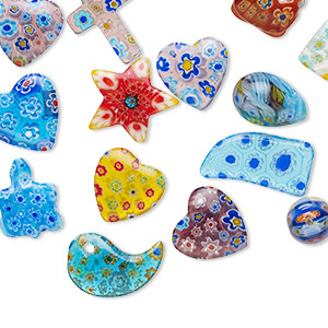 bead and component mix, millefiori glass, multicolored, 12x12mm-25x21mm mixed shapes. sold per pkg of 25.