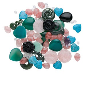 bead and component mix, multi-gemstone (natural / dyed / manmade) and glass, mixed colors, 7x5mm-34x34mm mixed shape. sold per 1/2 pound pkg, approximately 50-120 pieces.