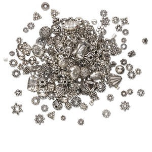 bead and finding mix, antiqued sterling silver, 2-20mm mixed shape. sold per 100-gram pkg, approximately 75-300 pieces.