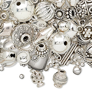 bead and finding mix, sterling silver, mixed styles and sizes. sold per 50-gram pkg, approximately 50-80 pieces.