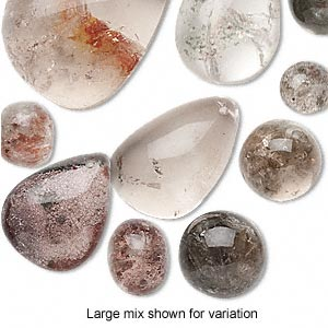 bead and focal mix, lodolite (natural), 9mm-47x36mm top-drilled mixed shapes, c grade, mohs hardness 7. sold per pkg of 3.