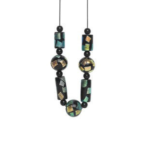 bead and focal set, dichroic glass and waxed cotton cord, black / green / multicolored, double-sided multi-shape. sold per set.