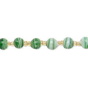 bead and seed bead mix, vintage india glass, silver-lined transparent gold / opaque white / green, #11 round and 5-7mm round with swirl design. sold per 24-inch strand.