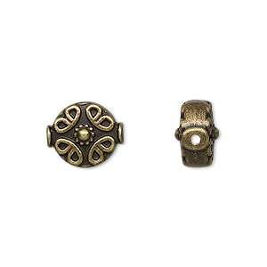 bead, antique brass-finished pewter (zinc-based alloy), 10mm filigree flat round. sold per pkg of 10.