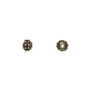 bead, antique brass-finished pewter (zinc-based alloy), 5mm fancy round. sold per pkg of 24.