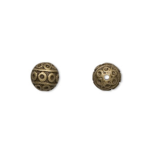 bead, antique brass-finished pewter (zinc-based alloy), 8mm filigree round. sold per pkg of 10.