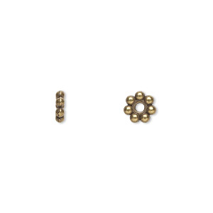 bead, antique brass-plated pewter (zinc-based alloy), 6x2mm beaded rondelle. sold per pkg of 100.