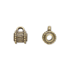 bead, antique brass-plated pewter (zinc-based alloy), 7x6mm cylinder with loop, 3mm hole. sold per pkg of 20.