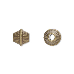 bead, antique brass-plated pewter (zinc-based alloy), 9x9mm corrugated bicone with 2.5mm hole. sold per pkg of 20.