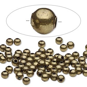 bead, antique brass-plated steel, 4mm round. sold per pkg of 500.