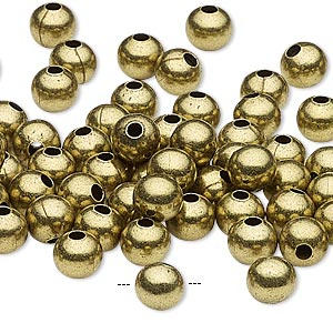 bead, antique brass-plated steel, 6mm round with 2mm hole. sold per pkg of 100.