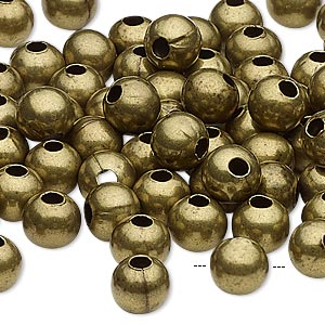bead, antique brass-plated steel, 8mm round with 2.5mm hole. sold per pkg of 500.