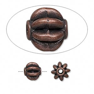 bead, antique copper-finished pewter (zinc-based alloy), 8mm fluted round. sold per pkg of 24.