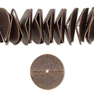 bead, antique copper-plated brass, 17x3mm textured wavy rondelle. sold per pkg of 20.
