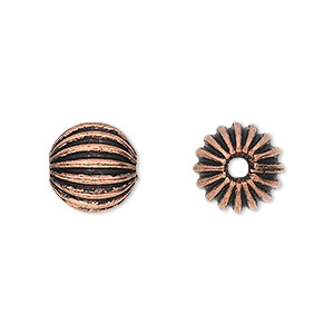 bead, antique copper-plated copper, 12mm fluted round. sold per pkg of 10.