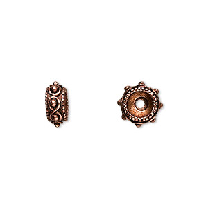 bead, antique copper-plated pewter (tin-based alloy), 9x4mm rondelle. sold per pkg of 10.