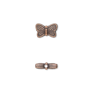 bead, antique copper-plated pewter (zinc-based alloy), 10x6mm double-sided butterfly. sold per pkg of 50.