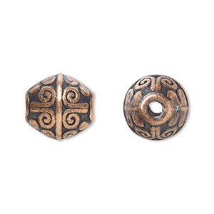 bead, antique copper-plated pewter (zinc-based alloy), 12x11mm bicone with 2mm hole. sold per pkg of 20.