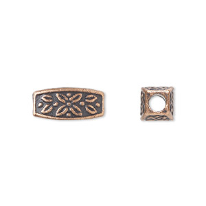 bead, antique copper-plated pewter (zinc-based alloy), 13x6mm squared oval with 3mm hole. sold per pkg of 20.