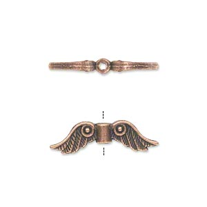 bead, antique copper-plated pewter (zinc-based alloy), 23x6mm double-sided angel wings. sold per pkg of 20.