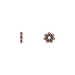 bead, antique copper-plated pewter (zinc-based alloy), 6x1mm double-sided rondelle. sold per pkg of 100.