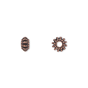 bead, antique copper-plated pewter (zinc-based alloy), 7x4mm double-sided rondelle. sold per pkg of 50.
