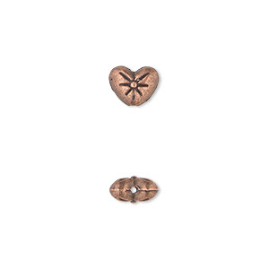 bead, antique copper-plated pewter (zinc-based alloy), 8x6mm double-sided heart with flower design. sold per pkg of 50.