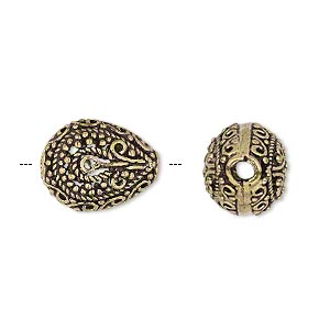 bead, antique gold-finished brass, 16x13mm filigree fancy puffed teardrop, 2.5mm hole. sold per pkg of 2.