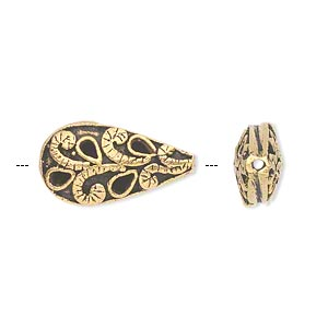 bead, antique gold-finished brass, 21x11mm puffed teardrop with swirls and teardrops. sold individually.