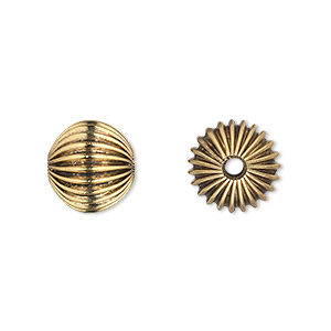bead, antique gold-finished pewter (zinc-based alloy), 12mm hollow corrugated round with 2.75mm hole. sold per pkg of 10.