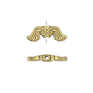 bead, antique gold-finished pewter (zinc-based alloy), 19x7mm double-sided wing. sold per pkg 10.
