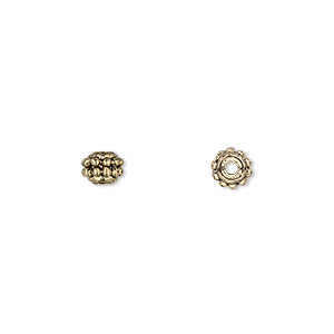 bead, antique gold-finished pewter (zinc-based alloy), 5mm fancy round. sold per pkg of 24.