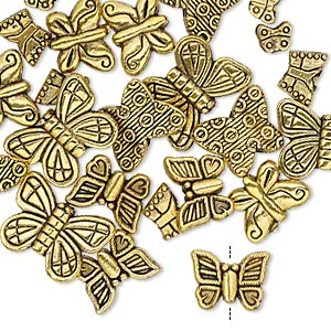 bead, antique gold-finished pewter (zinc-based alloy), 5x4mm-15x11mm assorted double-sided butterfly. sold per pkg of 24.