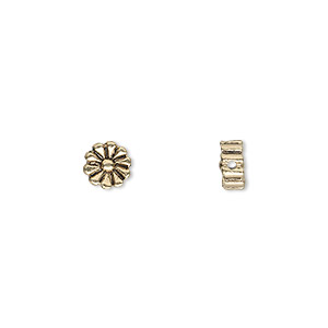 bead, antique gold-finished pewter (zinc-based alloy), 6x6mm double-sided flat round daisy. sold per pkg of 20.