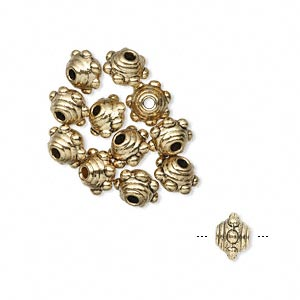 bead, antique gold-finished pewter (zinc-based alloy), 7x5mm studded beaded rondelle. sold per pkg of 12.