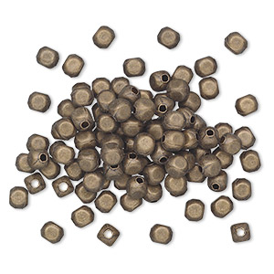 bead, antique gold-plated brass, 4x3mm rounded rectangle. sold per pkg of 100.