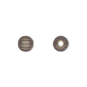 bead, antique gold-plated brass, 8mm corrugated round. sold per pkg of 100.