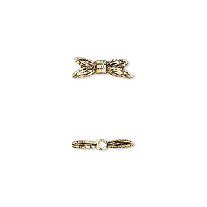 bead, antique gold-plated pewter (tin-based alloy), 13x4mm dragonfly wings. sold per pkg of 6.