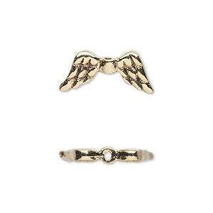 bead, antique gold-plated pewter (tin-based alloy), 20x9mm double-sided angel wings. sold per pkg of 2.